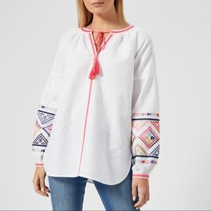 Joules Yolanda Embroidered Long Sleeve Top US 4